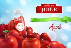 Vector realistische promobanner van appelsap Royalty-vrije Stock Foto's