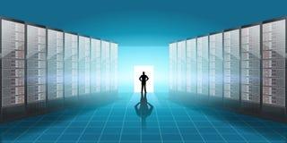 Vector realistische Serverraumillustration, Mannschattenbild in der Tür mit Licht und Schatteneffekt Stockbild