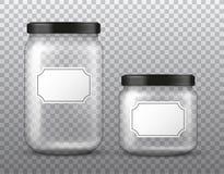 Vector realistische transparante grote en kleine glaskruik met leeg die etiket op transparante achtergrond wordt geïsoleerd stock illustratie