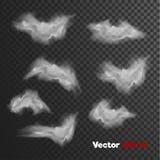 Vector realistische wolken van mist, nevel De elementen van de spookstijl Stock Foto