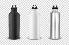 Vector realistisches Schwarzes 3d, Weiß und silberne leere glatte Metallwasserflasche mit gesetzter Nahaufnahme der schwarzen Pfr vektor abbildung