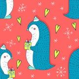 Vector reamless patroon met Christmaas-pinguïn Royalty-vrije Stock Foto