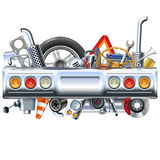 Vector Rear Car Part with Spares Stock Photography