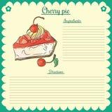 Vector recipe. Cherry pie Stock Photography