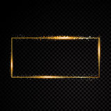 Vector rectangle frame. Shining banner.  on black transparent background. Vector illustration Stock Photography