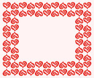 Vector rectangular frame of scarlet hearts. Vivid, cute and romantic. Stock Photo
