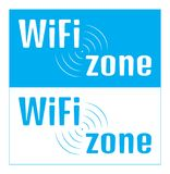 Vector rectangular nameplate with an inscription Wi fi zone on a. White and blue background Stock Photography