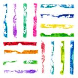 Vector rectangular paint stamps. Vector Set of Multicolored Grunge Watercolor rectangular paint stamps Stock Photos
