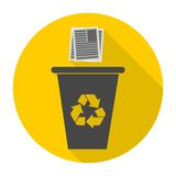 Vector Recycle Bin Trash and Garbage icon with long shadow Royalty Free Stock Images