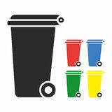 Vector Recycle Bin Trash and Garbage icon set Royalty Free Stock Images