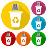 Vector Recycle Bin Trash and Garbage icons set with long shadow Stock Photo