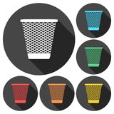 Vector Recycle Bin Trash and Garbage icons set with long shadow Royalty Free Stock Images