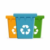Vector Recycle Bins for Trash and Garbage. Stock Image