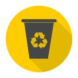 Vector recycle garbage can icon with long shadow Stock Images