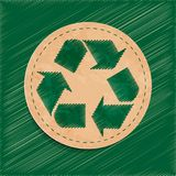 Vector recycle sign. Button, old paper Stock Photo
