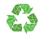 Vector recycle sign made of leaves Stock Images