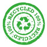 Vector 100% recycle stamp. Vector green 100% recycle mark stamp isolated royalty free illustration