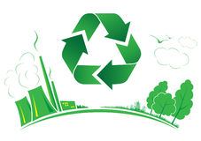 Vector recycle symbol. Green and white. Simply change Stock Images