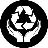 Vector recycle symbol in hands icon Stock Photography
