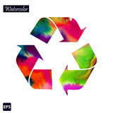 Vector Recycle Symbol With Watercolor Colors Royalty Free Stock Photography