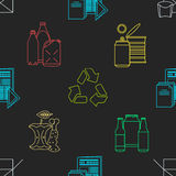 Vector recycle waste seamless pattern. Vector colored outline design waste colored paper plastic battery metal glass organic paper hazardous icons decoration Stock Images