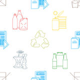 Vector recycle waste seamless pattern. Vector colored outline design waste colored paper plastic battery metal glass organic paper hazardous icons decoration Royalty Free Stock Photo