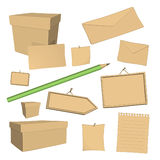 Vector recycled paper office elements Royalty Free Stock Images