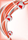 Vector red abstract background with globe Stock Image