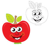 Vector ~ Red apple cartoon. Cheerful red apple cartoon character. The black & white version is useful for coloring books for children Stock Photography