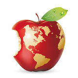 Vector red apple earth. With bite Stock Photos