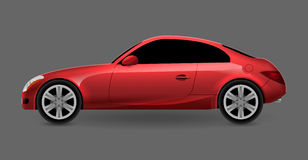 Vector red automobile coupe  profile side view. Luxury modern sedan transport auto car. Side view car design illustration.  Royalty Free Stock Photography