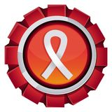 Vector red award with breast cancer sign Stock Image