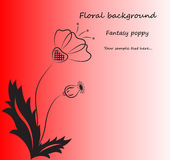 Vector red background with fantasy poppy. Royalty Free Stock Images