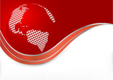 Vector red background with globe Stock Photos