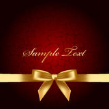 Background with gold bow. Vector red background with gold bow Royalty Free Stock Photography
