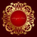 Red background with gold ornament. Vector red background with gold ornament Stock Photo