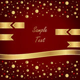 Vector red background with gold ribbons. Beautiful vector card with gold ribbons royalty free illustration