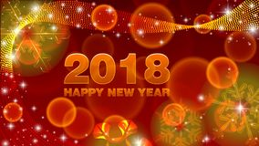Vector background Happy New Year 2018. Vector red background Happy New Year 2018 with snowflakes Royalty Free Stock Image
