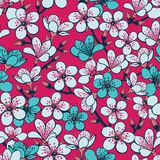 Vector red background with light grey and cyan cherry blossom sakura flowers and dark blue stems seamless pattern background stock illustration