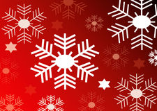 Vector red background with snow flakes Royalty Free Stock Photos