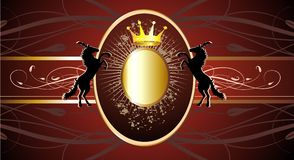 Vector red banner with gold crown and horses Royalty Free Stock Photography