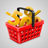 Vector red basket Bargain Royalty Free Stock Image