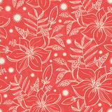 Vector red and beige tropical floral seamless Royalty Free Stock Images