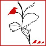 Vector red birds on a black flower illustration. Mysterious RED birds on abstraction black flower, magic and sign Stock Photo