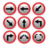 Vector red black traffic sign isolated on gray background. Illustrator Royalty Free Stock Images