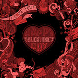 Vector red and black Valentine's ornate background. Royalty Free Stock Photos