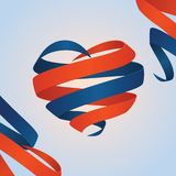 Vector red and blue crossed ribbon heart. Isolated vector crossed ribbon heart Royalty Free Stock Images