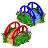 Vector red and blue decorative bridges with plants Royalty Free Stock Image