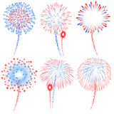 Vector Red and Blue Fireworks Illustrations. Vector Red and Blue Fireworks Displays Illustrations set Stock Photos