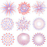 Vector Red and Blue Fireworks Illustrations. Set Royalty Free Stock Images